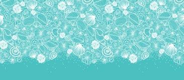 Blue seashells line art horizontal seamless