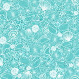 Blue seashells line art seamless pattern Royalty Free Stock Photos