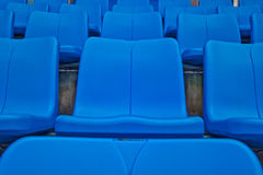 Blue seat  in football stadium Stock Photos