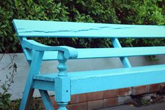 Blue seat in a garden at the park Stock Photography