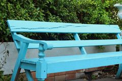 Blue seat in a garden at the park Royalty Free Stock Photos