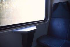 Blue seat in modern European train. Photo of blue seat in modern European train Royalty Free Stock Image