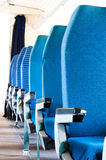 Blue seats of an Airplane. With blurry background royalty free stock photography