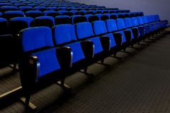 Blue Seats in Theater stock photos