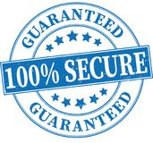 Blue 100% secure guaranteed grungy round rubber stamp illustrati. Old retro rubber stamp on white background Stock Photos