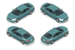 Blue Sedan Car. Flat isometric high quality city transport icon set. Vector illustration Stock Photo