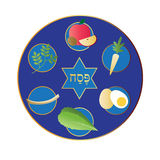 Blue seder plate with food Stock Photography