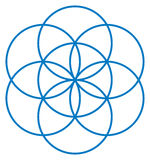 Blue Seed of Life. Unique geometrical figure, composed of seven overlapping circles of same size, forming the symmetrical structure of an hexagon. Flower of stock illustration