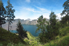 Blue Segara Anak lake on the crater of Mount Rinjani. Taken from plawangan senaru. Lombok, Indonesia Royalty Free Stock Images