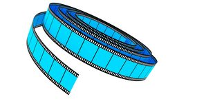 Blue Segment color film rolled down Stock Photo
