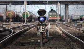 Blue semaphore lights on cargo railway Stock Images