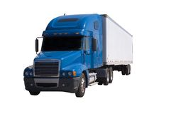 Blue Semi With Trailer. A blue semi truck with a white trailer attached. Isolated on a white background. Clipping path included Royalty Free Stock Image