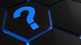 Blue question mark on hexagons - 3D rendering. A blue semi-transparent question mark lets blue light pass through a hole on a hexagonal tile that has blue Royalty Free Stock Image