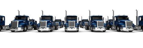 Blue Semi truck fleet. 3D render image representing a Blue Semi truck fleet Stock Photo