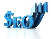 Blue SEO text symbol with arrows pointing up Stock Image