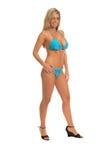 Blue Sequin Bikini Blonde. Sexy blond swim wear model in a blue sequin embellished bikini Royalty Free Stock Image