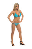 Blue Sequin Bikini Blonde Royalty Free Stock Images