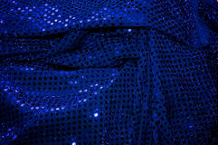 Blue sequined fabric background Royalty Free Stock Photos