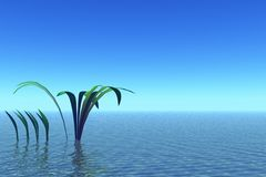 Blue serenity landscape. With plants. 3d graphics Royalty Free Stock Photo