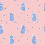 Blue serenity pineapples on rose quartz background seamless pattern illustration. Blue serenity pineapples on rose quartz background seamless vector pattern royalty free illustration