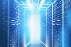 Blue server room interior background. Interior of server room with blue glowing light. Concept of hi tech, big data and cloud computing in business. 3d rendering royalty free stock image
