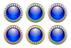 Blue Set of 6 Color Combinations Glossy Buttons vector illustration