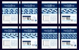 Blue set of A4 Business Book Cover Design Templates. Good for P vector illustration
