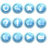 Blue set of buttons Stock Photography