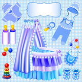 Blue set of childrens cradle beanbag booties slide Stock Image