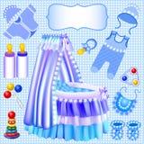 Blue set of childrens cradle beanbag booties slide. Illustration of a blue set of childrens cradle beanbag booties sliders Stock Image