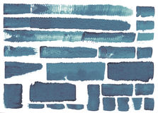 Blue set of different brush strokes Stock Photography
