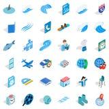 Blue set icons set, isometric style. Blue set icons set. Isometric style of 36 blue set vector icons for web isolated on white background Stock Photos