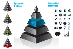 Blue set of isometry symmetrical pyramid charts, diagram 5 levels with gradient, metal texture. Elements infographics Stock Images
