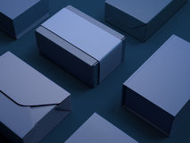 Blue set of luxury packages. 3d rendering Royalty Free Stock Images