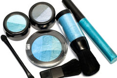 Blue set for make-up. Eyeshadows, rouge, blusher and gloss Royalty Free Stock Photos