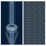 Blue set with marine design a card with a jelly-fish and seamless vector pattern with waves. Vector blue set with marine design a card with a jelly-fish and Royalty Free Stock Photography