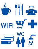 Blue set of road icons Royalty Free Stock Image