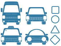 Blue set of transport silhouettes. With frames royalty free illustration