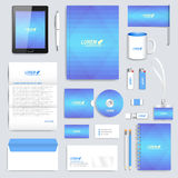 Blue set of vector corporate identity template. Modern business stationery mock-up. Background with light blue Stock Image