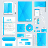 Blue set of vector corporate identity template. Modern business stationery mock-up. Branding design.  royalty free illustration