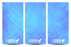 Blue set of vector flyers. Background with light blue triangles. Flyer, web, banner, card, vip, certificate, gift Stock Photo