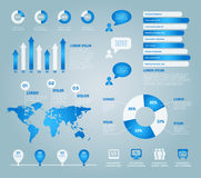 Blue set of vector infographic elements Royalty Free Stock Images