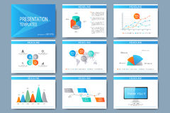 Blue set of vector templates for multipurpose presentation slides. Modern business flat design with graphs and chart Stock Images