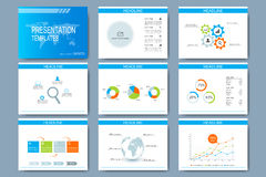 Blue set of vector templates for multipurpose presentation slides. Modern business flat design with graphs and chart Royalty Free Stock Photography