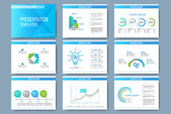 Blue set of vector templates for presentation slides. Modern business design with graph and charts Stock Images