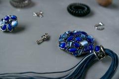 Blue Set of women`s jewelry stock image