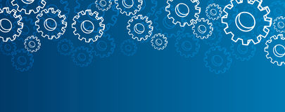 Blue settings banner with gears. Stock Images