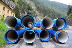 Blue sewer pipes or sewer pipes Stock Image