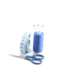 Blue sewing kit Stock Photography