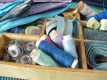 Blue sewing utensils stock photography